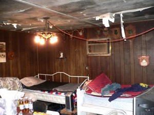 Photo of ceiling inside hunting cabin in Texas.