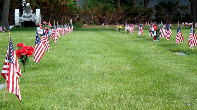 Photo of rows of flags on Memorial Day Eve.
