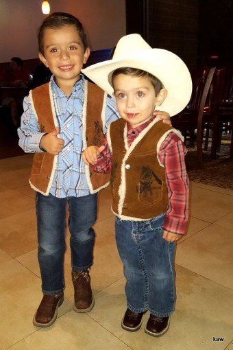 Photo of cute Texas cowboys, ages 4 and 2!
